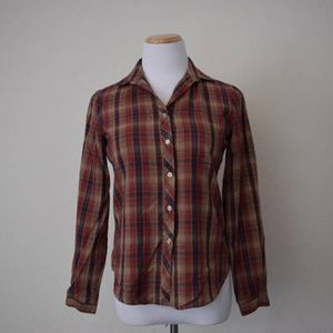 Vintage acrylic button up shirt plaid retro